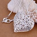 hesapli Bilezikler-Kadın's Derin Uçlu Kolyeler - S925 Gümüş Kalp, Aşk Moda Gümüş 45 cm Kolyeler 1pc Uyumluluk Düğün, Parti, Günlük