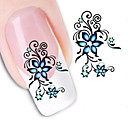 cheap Temporary Tattoos-1 pcs 3D Nail Stickers Water Transfer Sticker nail art Manicure Pedicure Flower / Abstract / Fashion Daily