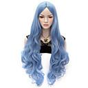 hesapli Makyaj ve Tırnak Bakımı-Sentetik Peruklar / Kostüm Perukları Dalgalı / Vücut Dalgası Sentetik Saç Mavi Peruk Kadın's Çok uzun Bonesiz Mavi