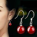 baratos Anéis-Mulheres Ágata Brincos Compridos - Prata de Lei Preto / Vermelho Para Casamento Festa Diário