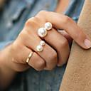 hesapli Kolyeler-Kadın's Bildiri Yüzüğü - İnci, alaşım Moda Tek Beden Altın / Gümüş Uyumluluk Parti
