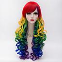 ieftine Costume Cosplay-Peruci Sintetice Kinky Curly Stil Cu breton Fără calotă Perucă Roșu Roșu Păr Sintetic Pentru femei Roșu Perucă Lung Halloween Wig