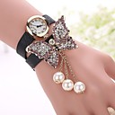 Buy Butterfly Leather Bracelet Watch Relojes Mujer Women Rhinestones Fashion Woman Quartz relogio feminino Watches Unique Strap