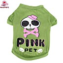 hesapli Köpek Giyim ve Aksesuarları-Kedi Köpek Kostümler Tişört Kıyafetler Köpek Giyimi Kuru Kafalar Karton Yeşil Pamuk Kostüm Evcil hayvanlar için Cosplay Düğün Cadılar