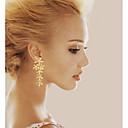 hesapli Küpeler-Kadın's Sentetik Pırlanta Damla Küpeler - Gümüş Kaplama, Altın Kaplama Leaf Shape Doğumtaşları Gümüş / Altın Uyumluluk Düğün Parti Günlük