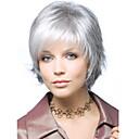 hesapli LED Aksesuarlar-Sentetik Peruklar Dalgalı Sentetik Saç Beyaz Peruk Kadın's Şort Bonesiz Gümüş