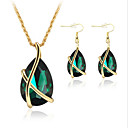 cheap Earrings-Women's Crystal Jewelry Set - Crystal, Rose Gold Plated Teardrop Elegant, Bridal, Festival / Holiday Include Drop Earrings / Pendant Necklace White / Green / Blue For Party / Special Occasion