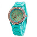 Buy Women's Watch Fashion Gold Diamante Case Candy Color Silicone Band Cool Watches Unique Strap