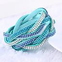 cheap Necklaces-Women's Crystal Layered Stacking Stackable Wrap Bracelet Leather Bracelet Leather Rhinestone Imitation Diamond Ladies Luxury Unique Design Fashion Multi Layer Bracelet Jewelry Green / Blue / Light