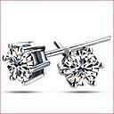 hesapli Küpeler-Kadın's Kübik Zirconia Vidali Küpeler - Som Gümüş, Zirkon, Gümüş Gümüş Uyumluluk Düğün / Parti / Günlük