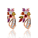 cheap Brooches-Cubic Zirconia Stud Earrings Hoop Earrings - Zircon Flower Rainbow For Wedding Party Daily