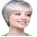 hesapli Makyaj ve Tırnak Bakımı-Sentetik Peruklar Düz Sentetik Saç 10 inç Gri Peruk Kadın's Şort Bonesiz Gri