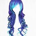hesapli Makyaj ve Tırnak Bakımı-Sentetik Peruklar Bukle / Dalgalı / Gevşek Dalgalar Asimetrik Saç Kesimi / Bantlı Sentetik Saç 25 inç Doğal saç çizgisi Mavi Peruk Kadın's Uzun Bonesiz Koyu Mavi