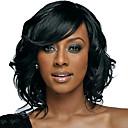 hesapli Makyaj ve Tırnak Bakımı-Sentetik Peruklar Kadın's Dalgalı Doğa siyah Bob Saç Kesimi / Bantlı Sentetik Saç Doğa siyah Peruk Orta Bonesiz Siyah