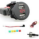 저렴한 차량용 충전기-iztoss 2.1A& 전압계 붉은 빛 2.1A 방수 듀얼 USB 충전기 전화 충전기 전원 소켓