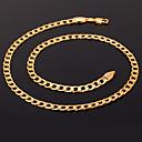 hesapli Kolyeler-Kadın's Figaro Zinciri / Tıknaz Zincir Kolyeler / Açıklama Kolye - Altın Kaplama Moda Gümüş, Altın, Gül Altın Kolyeler Uyumluluk Yılbaşı Hediyeleri, Düğün, Parti