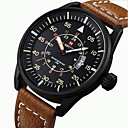 cheap Men's Watches-NAVIFORCE Men's Sport Watch Military Watch Wrist Watch Japanese Quartz 30 m Water Resistant / Water Proof Calendar / date / day Noctilucent Leather Band Analog Casual Black / Brown - Black Brown Two