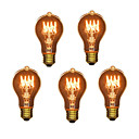 abordables Luces LED de Doble Pin-5pcs 40W E26 / E27 A60(A19) Blanco Cálido 2300k Retro / Regulable / Decorativa Bombilla incandescente Vintage Edison 220-240V