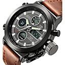 ieftine Ceasuri Bărbați-Bărbați Ceas de Mână Ceas digital Japoneză Piele Maro 50 m Rezistent la Apă Alarmă Calendar Analog - Digital Lux - Alb Negru Doi ani Durată de Viaţă Baterie / Oțel inoxidabil / Cronograf / Luminos