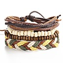 cheap Bracelets-4pcs Men's Beads Leather Bracelet - Leather Ladies, Punk Bracelet Jewelry Brown For Christmas Gifts Daily Casual