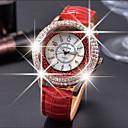 hesapli Kadın Saatleri-Kadın's Yüzer Kristal Saatler Quartz Gündelik Saatler Deri Bant Analog Moda Zarif Siyah / Beyaz / Kırmızı - Kahverengi Kırmzı Yeşil