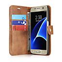 Недорогие Чехлы и кейсы для Galaxy S5 Mini-Кейс для Назначение SSamsung Galaxy S7 edge / S7 Бумажник для карт / Флип Чехол Однотонный Твердый Настоящая кожа