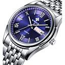 levne Pánské-Pánské Náramkové hodinky Křemenný Japonské Quartz Nerez Stříbro 30 m Voděodolné Kalendář Svítící Analogové Luxus Klasické Na běžné nošení Hodinky k šatům - Bílá Černá Modrá Dva roky Životnost baterie