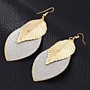 hesapli Broşlar-Kadın's Damla Küpeler - Gümüş Kaplama, Altın Kaplama Leaf Shape Vintage, Avrupa, Moda Altın / Siyah / Gümüş Uyumluluk Düğün Parti