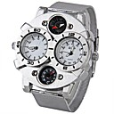 cheap Men's Watches-Oulm Men's Military Watch Quartz Japanese Quartz Thermometer Compass Dual Time Zones Stainless Steel Band Analog Silver - White Black Brown Two Years Battery Life / SOXEY SR626SW
