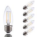 abordables Ampoules Globe LED-GMY® 6pcs 200 lm E26 / E27 Ampoules à Filament LED B 2 Perles LED COB Intensité Réglable Blanc Chaud / 6 pièces / Certifié UL