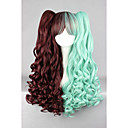 cheap LED Spotlights-green brown mixed 70cm long braid wave high quality synthetic party cosplays lolita wig Halloween