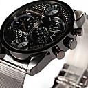 hesapli Kolyeler-Oulm Erkek Quartz Bilek Saati Çift Zaman Bölmeli Alaşım Bant Günlük Havalı Gümüş