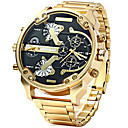 cheap Men's Watches-Men's Sport Watch Military Watch Wrist Watch Quartz Calendar / date / day Dual Time Zones Cool Stainless Steel Band Analog Luxury Vintage Casual Black / Brown / Gold - Brown black / gold White / Gold