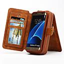 رخيصةأون حافظات / جرابات هواتف جالكسي S-غطاء من أجل Samsung Galaxy Samsung Galaxy S7 Edge حامل البطاقات محفظة مع حامل قلب غطاء كامل للجسم لون الصلبة قاسي جلد أصلي إلى S7 edge S7