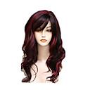 hesapli Makyaj ve Tırnak Bakımı-Sentetik Peruklar Kadın's Dalgalı Kırmızı Bantlı Sentetik Saç Işıltılı / Balyajlı Saç / Yan Parti Kırmızı Peruk Uzun Bonesiz Kırmızı