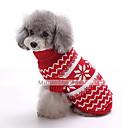 저렴한 강아지 의류 & 악세사리-강아지 스웨터 강아지 의류 눈송이 다크 블루 레드 면 코스츔 제품 겨울 남성용 여성용 패션 크리스마스
