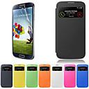 hesapli Galaxy S Serisi Kılıfları / Kapakları-Pouzdro Uyumluluk Samsung Galaxy Samsung Galaxy Kılıf Pencereli Flip Tam Kaplama Kılıf Tek Renk PU Deri için S4