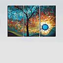 abordables Stickers-Peint à la main Abstrait Format Horizontal Toile Peinture à l'huile Hang-peint Décoration d'intérieur Trois Panneaux
