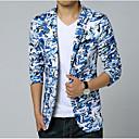 cheap Men's Blazers & Suits-Men's Daily / Going out / Weekend Spring / Summer Regular Blazer, Camouflage Shirt Collar Long Sleeve Cotton Print Blue XXXL / 4XL / XXXXXXL / Slim