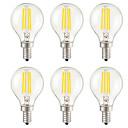 ieftine Lămpi Cu Filament LED-KWB 6pcs 3 W Bec Filet LED 400 lm E14 E12 E26 / E27 G45 4 LED-uri de margele COB Intensitate Luminoasă Reglabilă Decorativ Alb Cald 220-240 V 110-130 V / 6 bc / RoHs