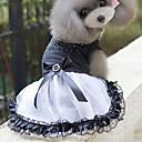 hesapli Köpek Giyim ve Aksesuarları-Kedi Köpek Elbiseler Köpek Giyimi Prenses Beyaz/Siyah Pamuk Kostüm Evcil hayvanlar için Kadın's Sevimli