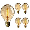 cheap Incandescent Bulbs-5pcs 40W E26 / E27 G95 Warm White 2200-2800k Retro Dimmable Decorative Incandescent Vintage Edison Light Bulb 220-240V
