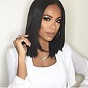 ieftine Peruci-Peruci Sintetice Drept Kardashian Stil Partea centrală Fără calotă Perucă Negru Negru Păr Sintetic Pentru femei Negru Perucă Mediu