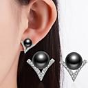 ieftine Carcase Tabletă-Pentru femei Zirconiu Cubic Tahitian perla Cercei Stud femei Clasic De Fiecare Zi Imitație de Perle Ștras Perlă neagră cercei Bijuterii Alb / Negru Pentru Nuntă Petrecere Ocazie specială Mulțumesc