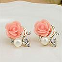 ieftine Becuri LED Glob-Pentru femei Cercei Stud Trandafiri Floare femei Euramerican Elegant Perle Imitație de Perle Ștras cercei Bijuterii Alb / Rosu Pentru Petrecere Casual