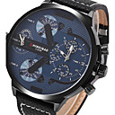 cheap Women's Watches-Men's Sport Watch Military Watch Wrist Watch Quartz Genuine Leather Black Calendar / date / day Creative Dual Time Zones Analog Vintage Casual Bangle Fashion - Blue One Year Battery Life / Large Dial