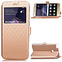 halpa Huawei kotelot / kuoret-Etui Käyttötarkoitus Huawei Huawei P8 Lite Korttikotelo Tuella Ikkunalla Flip Suojakuori Yhtenäinen väri Kova PU-nahka varten P8 Lite