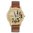 お買い得  レディース腕時計-男性用 リストウォッチ クォーツ レザー ブラック / ブラウン / カーキ クール 木製 ハンズ レディース カジュアル ウッド - ブラック コーヒー Brown