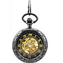 baratos Acessórios para Relógios-Homens Automático - da corda automáticamente relógio mecânico Relógio de Bolso Relógio Esqueleto Relógio Casual Lega Banda Elegant Preta