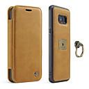 baratos Protetores de Tela para Samsung-Capinha Para Samsung Galaxy S8 Plus S8 Porta-Cartão Suporte para Alianças Magnética Capa Proteção Completa Côr Sólida Rígida couro